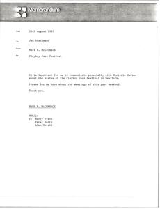 Memorandum from Mark H. McCormack to Jan Steinmann