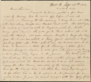 Letter from Anne Warren Weston, West St., [Boston], to Lucia Weston, Sept. 28th, 1840, 4 o'clock p.m