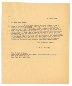 Letter from W. E. B. Du Bois to Hotel & Restaurant Employees and Bartenders International Union