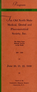 Program of the ... annual session of The Old North State Medical, Dental and Pharmaceutical Society [serial], 52nd(1939)