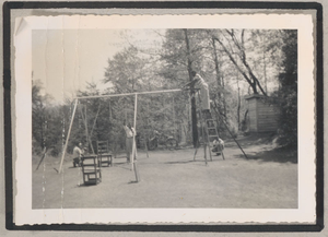 Photograph of men building a swingset, Clarkesville, Habersham County, Georgia, 1950