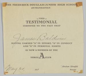 Certificates from Frederick Douglass Jr. High School