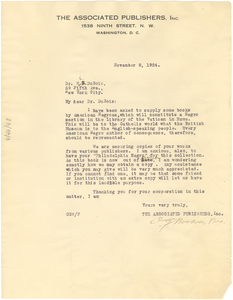 Letter from Associated Publishers to W. E. B. Du Bois