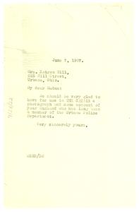 Letter from W. E. B. Du Bois to Kehren Hill