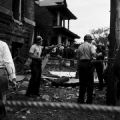 Police officers on guard outside 16th Street Baptist Church in Birmingham, Alabama, after the building was bombed.