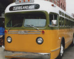 Cleveland Avenue bus from the 1955 Montgomery City Lines fleet, parked in front of Union Station in Montgomery, Alabama.