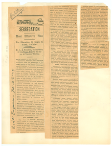 Segregation most effective plan for education of Negro in north, is claim Dr. L. A. Pechstein, of University of Cincinnati, reports on survey at teachers' meeting