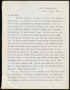 Letter from Robert Folger Wallcut, Boston, to Samuel May, June 4, 1879