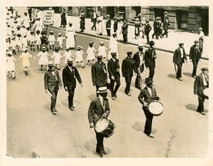 W. E. B. Du Bois marching on Fifth Avenue, July 29, 1917 in anti-lynching parade