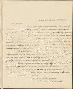 Letter from Angelina Emily Grimkè, Brookline, [Massachusetts], to Elizabeth J. Davis, 1838 March 18