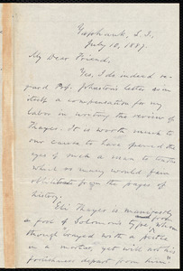 Letter from Oliver Johnson, Yaphank, L.I., [N.Y.], to Samuel May, July 10, 1887