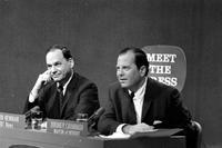 Television; Programs; Meet The Press.--Mayor Jerome P. Cavanagh interviewed Re: Detroit Race Riot.--Moderator - Edwin Newman, NBC.--Panel L to R:. John Steele, Time-Life. Hayes Johnson, Wash. Star. Martin Hayden, Detroit News. Bill Matney, NBC.