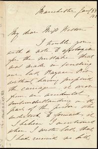 Letter from Rebecca Whitelegge, Manchester, [England], to Miss Weston, Jan. / 28 / [18]53