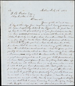 G.E. Ring, Aiken, S.C., autograph letter signed to Ziba B. Oakes, 26 July 1853