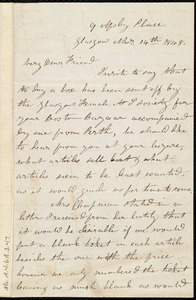 Letter from Mrs. Mary Welsh, 9 Apsley Place, Glasgow, [Scotland], to Anne Warren Weston, Nov'r 14th, 1848