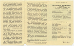 Financial report, 1921 January 31