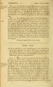 """1807 Chap. 0109. An act. in addition to, and repealing part of the first section of an act, entitled, """"An act for the better regulating of the Indian, Mulatto, and Negro proprietors and inhabitants of the plantation, called Marshpee, in the county of Barnstable, and for other purposes."""""""