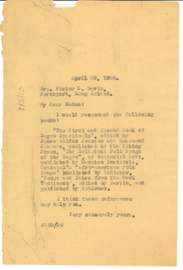 Letter from W. E. B. Du Bois to Juliet D. Bevin