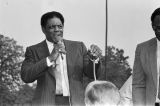 Willie Mays speaking during the dedication of Willie Mays Park in Fairfield, Alabama.