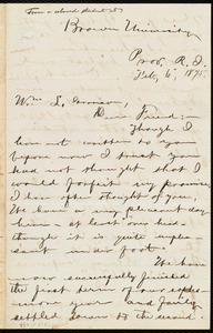 Thumbnail for Letter from George Washington Milford, Brown University, Prov[idence], R.I., to William Lloyd Garrison, Feb. 6, 1875