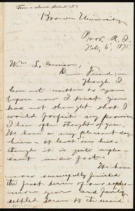 Letter from George Washington Milford, Brown University, Prov[idence], R.I., to William Lloyd Garrison, Feb. 6, 1875