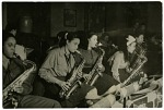 "Thumbnail for [""Sweethearts"" practice session: saxophone section. Black-and-white photoprint.]"