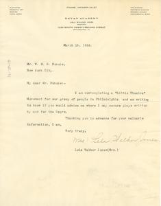 Letter from Lela Walker Jones to W. E. B. Du Bois