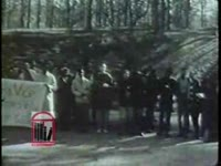 WSB-TV newsfilm clip of students singing freedom songs and Christmas carols in front of the home of Ivan Allen, Junior, mayor of Atlanta, Georgia, 1963 December 23