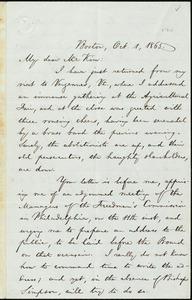 Letter from William Lloyd Garrison, Boston, [Mass.], to James Miller M'Kim, Oct. 1, 1865