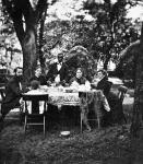 Elizabeth Van Lew with her nieces, brother John, and servant on main mansion grounds