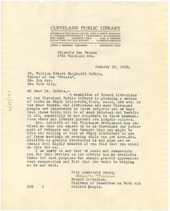 Letter from Cleveland Public Library to W. E. B. Du Bois