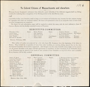 "Printed circular: ""To colored citizens of Massachusetts and elsewhere"""