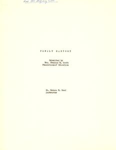 Student family histories: Scott, Frances Morgan (Smith, McCloud)