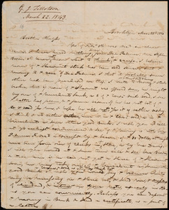 Letter from George Jeffrey Tillotson, Brooklyn, [Conn.], to Amos Augustus Phelps, 1843 Mar[ch] 22nd