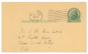 Letter from Mrs. F. C. Johnson to W. E. B. Du Bois