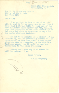Letter from W. S. H. Dougherty to W. E. B. Du Bois