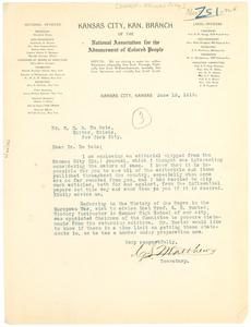 Letter from C. S. Matthews to W. E. B. Du Bois