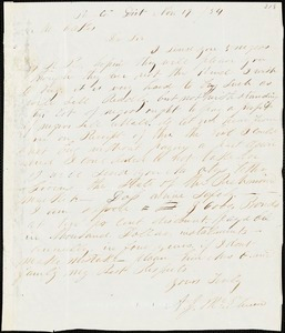 A. J. McElveen, Sumter District, S.C., autograph letter signed to Ziba B. Oakes, 19 November 1854