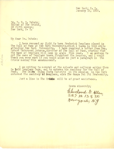 Letter from Cleveland G. Allen to W. E. B. Du Bois