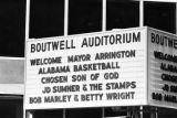 Sign outside Boutwell Auditorium on the day of Richard Arrington's inauguration as mayor of Birmingham, Alabama.