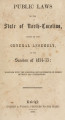 Public laws of the State of North-Carolina, passed by the General Assembly [1854-1855] Public laws of North Carolina