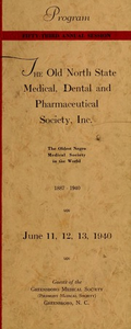 Program of the ... annual session of The Old North State Medical, Dental and Pharmaceutical Society [serial], 53rd(1940)