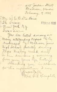 Letter from Mrs. G. F. Campbell to W. E. B. Du Bois