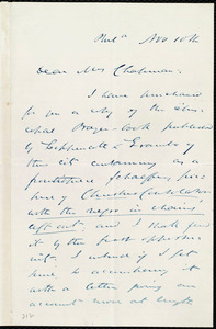Letter from James Miller M'Kim, Phil[adelphi]a, [Penn.], to Maria Weston Chapman, Nov. 10th, [1857?]