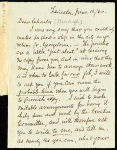 Letter from Samuel May, Leicester, [Mass.], to Charles Calistus Burleigh, June 12 / 60
