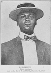 E. Harrison; Mess attendant; Lost on the U.S.S. Alcedo, November 5, 1917