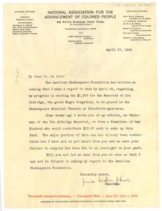 Letter from James Weldon Johnson to W. E. B. Du Bois