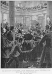 The Mississippi legislature passing a resolution asking for federal aid after the attack on Vicksburg, scene in the Senate chamber