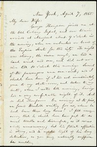 Letter from William Lloyd Garrison, New York, to Helen Eliza Garrison, April 7, 1865