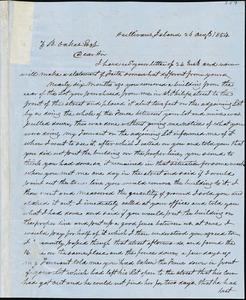 A. J. McElveen, Sumterville, S.C., autograph letter signed to Ziba B. Oakes, 30 August 1854